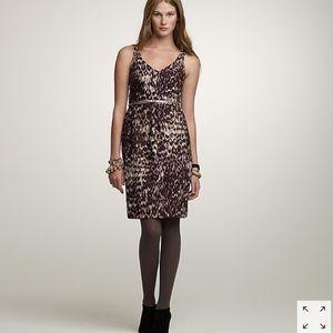 J. Crew Watercolor Leopard wool silk dress 8